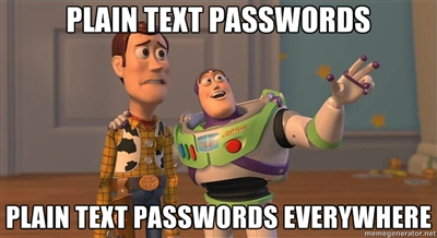 plain text passwords